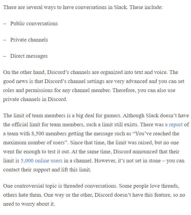 Discord vs Slack conversations
