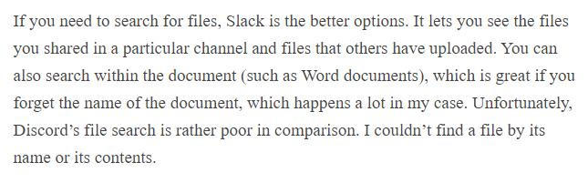 Discord vs Slack file search