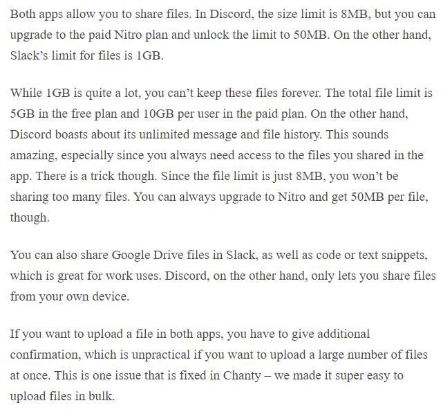 Discord vs Slack file sharing