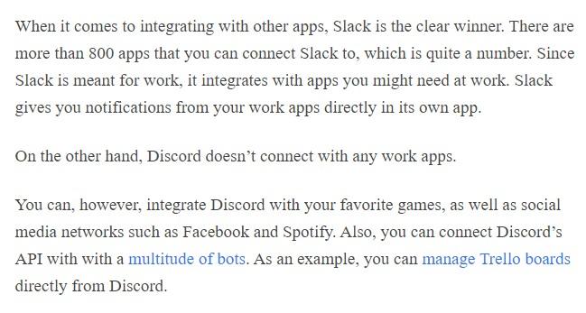 Discord vs Slack integrations