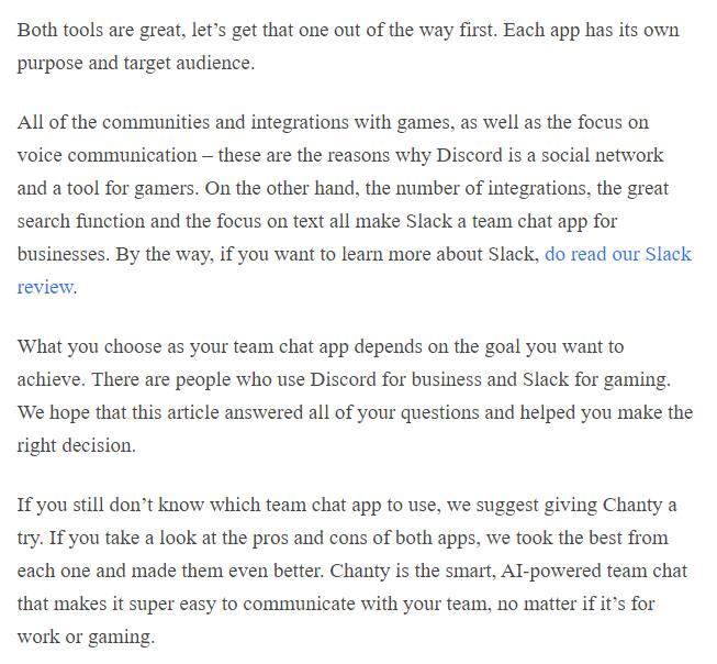 Discord vs Slack summary
