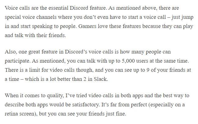Discord vs Slack voice & video calls discord