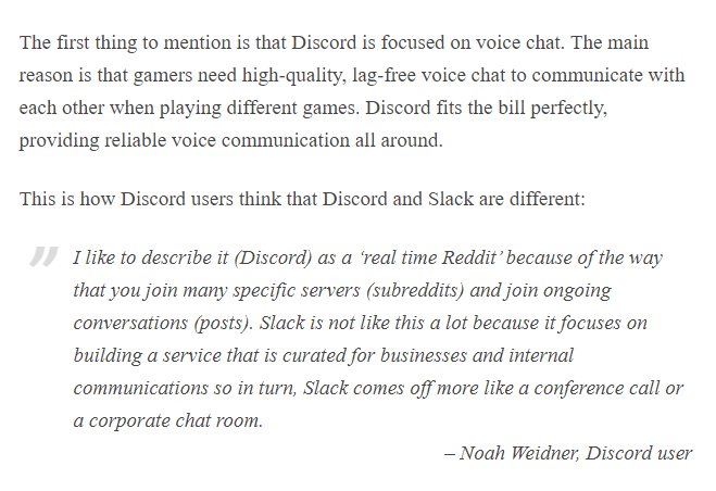 Discord vs. Slack concept the first thing to mention