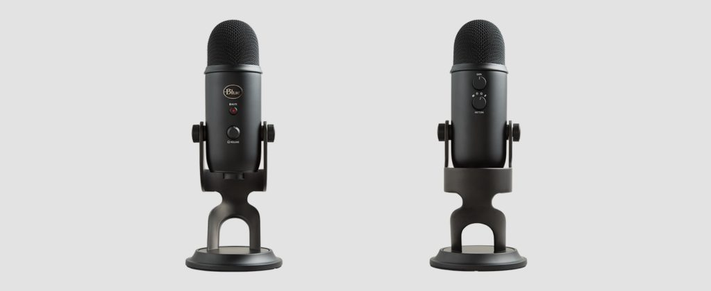 Blue Yeti microphone front and back