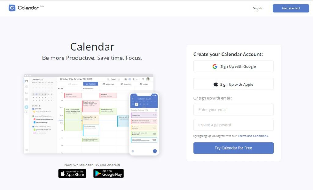 Calendar Homepage