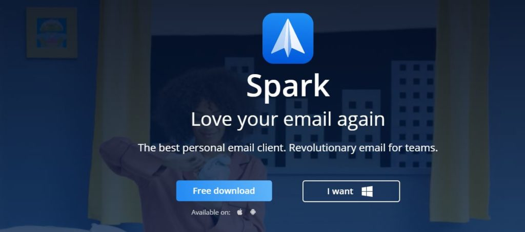Spark Mail App Signup Page