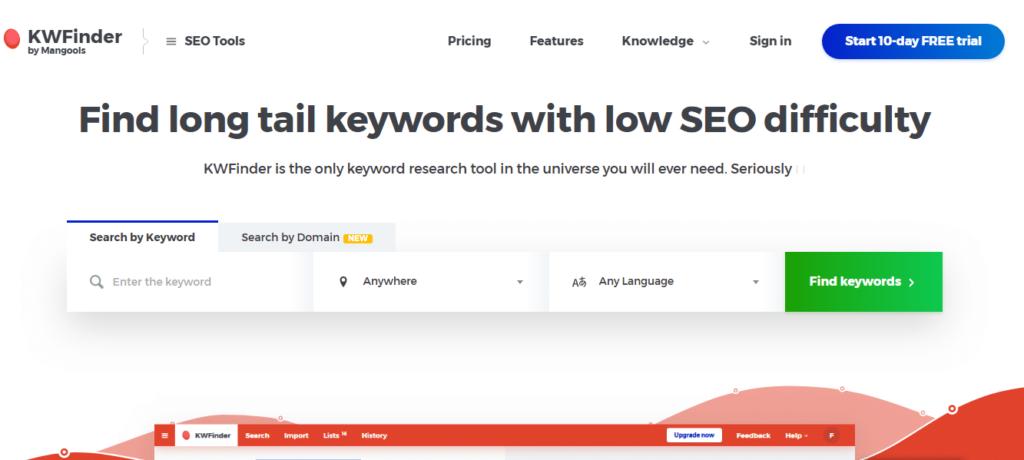 KWFinder Seo keyword tool
