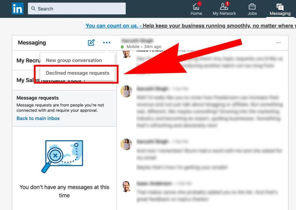 Linkedin Message Requests