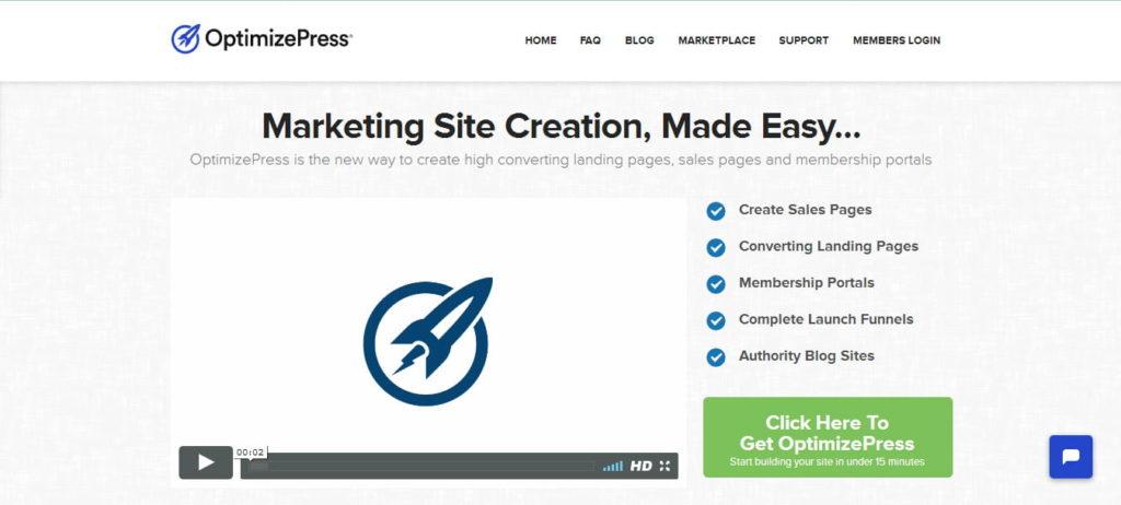 OptimizePress site creation