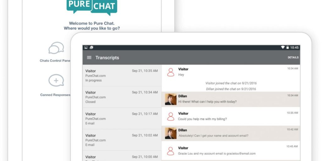 PureChat excellent example of a chatbot