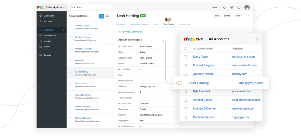 Zoho subscriptions CRM integration