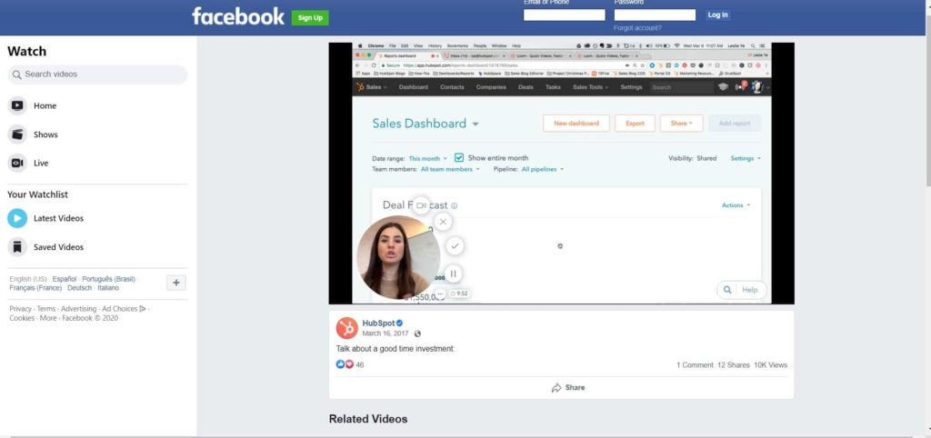 HubSpot Facebook Video