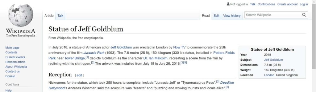 Statue of Jeff Goldblum Wikipedia